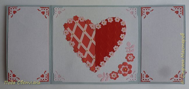 """Здравствуйте! Ко Дню влюблённых придумалась открыточка....хочу представить Вашему вниманию! Соединить два сердца влюблённых """"он"""" и """"она""""... """"они"""" рядом и """"они"""" одно...сердце и сердца влюблённых продолжение друг в друге... Надеюсь у меня получилось это передать... фото 20"""