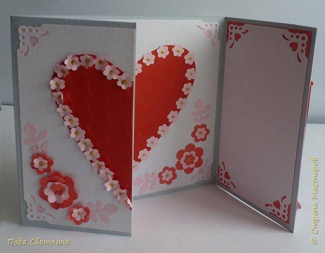 """Здравствуйте! Ко Дню влюблённых придумалась открыточка....хочу представить Вашему вниманию! Соединить два сердца влюблённых """"он"""" и """"она""""... """"они"""" рядом и """"они"""" одно...сердце и сердца влюблённых продолжение друг в друге... Надеюсь у меня получилось это передать... фото 18"""