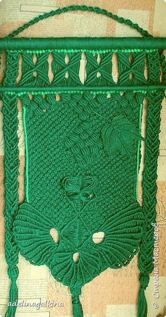 Зелёное макраме-панно фото 1