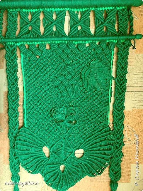 Зелёное макраме-панно фото 2