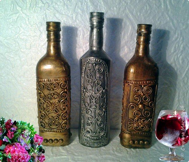 Здравствуйте,мои дорогие!Сегодня я продолжу знакомить вас со своей коллекцией национальных орнаментов народов Северного Кавказа.    Представляю вайнахские,аланские и адыгские узоры,создала их на бутылках в технике пейп-арт Тани Сорокиной по мотивам  музейных экспонатов. фото 1