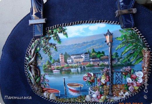 """Идея оформления сумки """"ОСТРОВОК..."""",давно сидела в моей голове...но всё не было самой сумки на которой бы выполнить задуманное...и вот повезло....Долго искала пейзаж,который бы напоминал об отдыхе в Италии и Греции.... фото 5"""