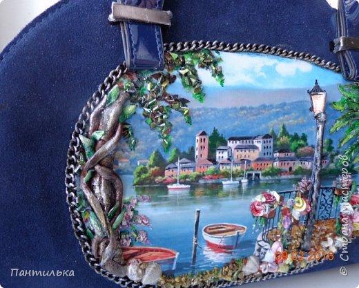 """Идея оформления сумки """"ОСТРОВОК..."""",давно сидела в моей голове...но всё не было самой сумки на которой бы выполнить задуманное...и вот повезло....Долго искала пейзаж,который бы напоминал об отдыхе в Италии и Греции.... фото 6"""