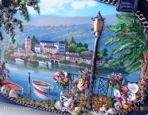 """Идея оформления сумки """"ОСТРОВОК..."""",давно сидела в моей голове...но всё не было самой сумки на которой бы выполнить задуманное...и вот повезло....Долго искала пейзаж,который бы напоминал об отдыхе в Италии и Греции.... фото 8"""