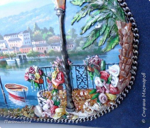 """Идея оформления сумки """"ОСТРОВОК..."""",давно сидела в моей голове...но всё не было самой сумки на которой бы выполнить задуманное...и вот повезло....Долго искала пейзаж,который бы напоминал об отдыхе в Италии и Греции.... фото 7"""