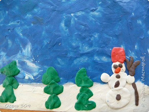 """Зимний пейзаж при помощи пластилина """"нарисовали"""" с детьми 6 лет. Размазывать пластилин пальчиками задача не из легких, но мы с ней справились. Тренировать пальчики полезно, ведь мы готовимся к школе! фото 5"""