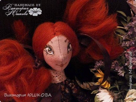 """Так получилось, что у меня """"родилось"""" несколько кукол в разных стилях объединенных одной цветовой гаммой и запахом корицы, так как ткань для их тела я красила раствором кофе и корицы, поэтому я собрала их в одну коллекцию и назвала ее КОРИЦА фото 3"""