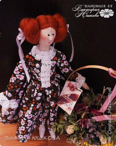 """Так получилось, что у меня """"родилось"""" несколько кукол в разных стилях объединенных одной цветовой гаммой и запахом корицы, так как ткань для их тела я красила раствором кофе и корицы, поэтому я собрала их в одну коллекцию и назвала ее КОРИЦА фото 7"""