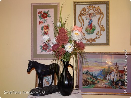 букет из хризантем, сделан из бумажных  салфеток фото 2