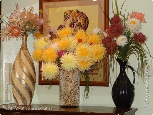 букет из хризантем, сделан из бумажных  салфеток фото 3
