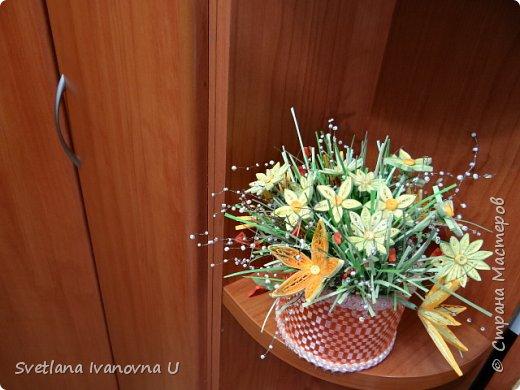 букет из хризантем, сделан из бумажных  салфеток фото 7
