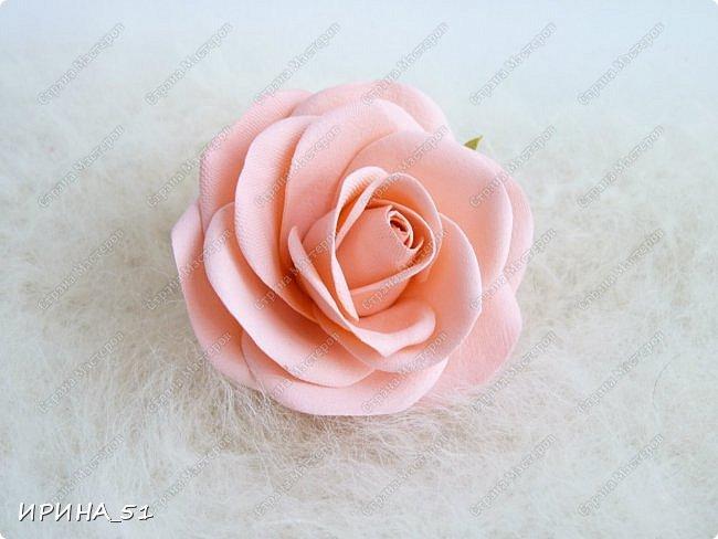 Пионовидная роза Давида Остина из фоамирана +заколочка. фото 6