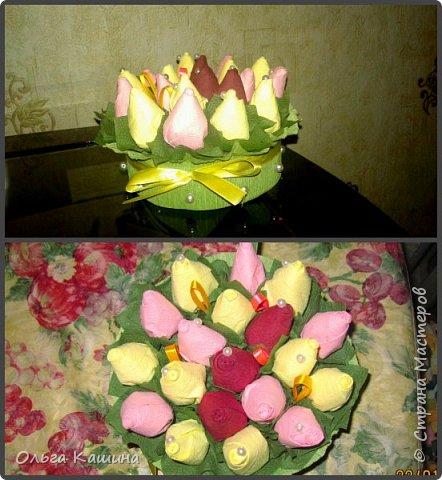 Букетик и деревце из бутончиков роз фото 1
