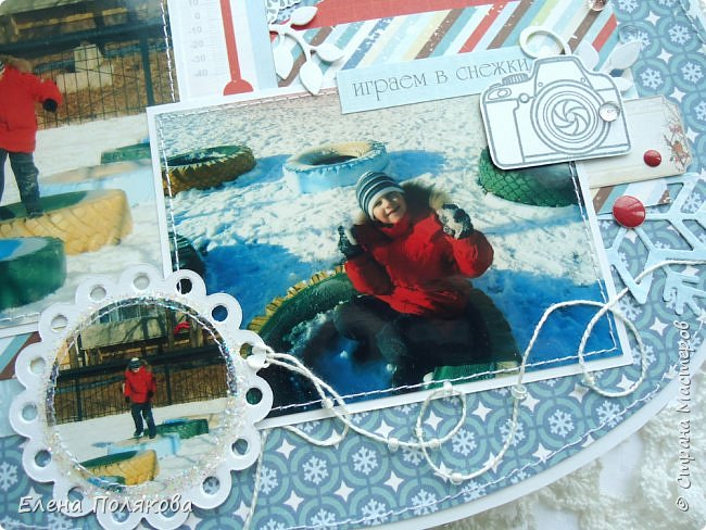 """Всем привет! Покажу сегодня альбом - варежку про зимние прогулки по нашему городу.   Идея сделать альбом в форме варежки про Лешины зимние игры созрела давно,  а после участия в качестве ПД в задании ОСК """"В формате МАКРО: Спящие растения зимой"""" пришла мысль показать красоту Зейской зимы, так сложился этот альбом. фото 7"""