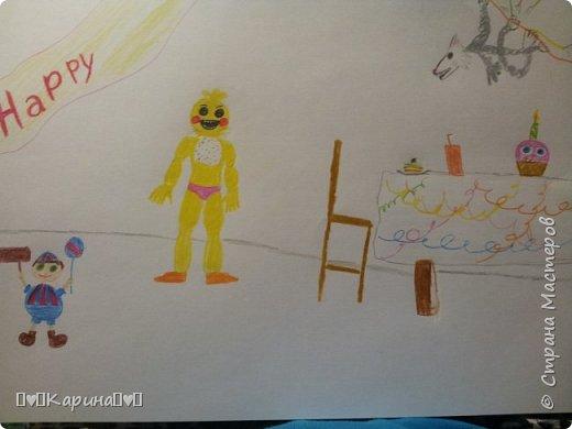 """Привет! Сегодня я покажу Вам мой первый рисунок """"5 ночей с Фредди"""". Здесь есть: Той Чика, Мангл (она же Той Фокси), BB (Мальчик с шариками) и кекс Карл. Рисовала вместе с братом)"""