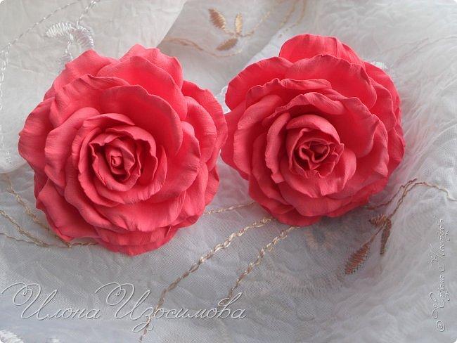 Розы из фоамирана(резиночки и заколки) фото 2