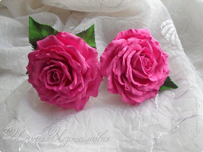 Розы из фоамирана(резиночки и заколки) фото 1