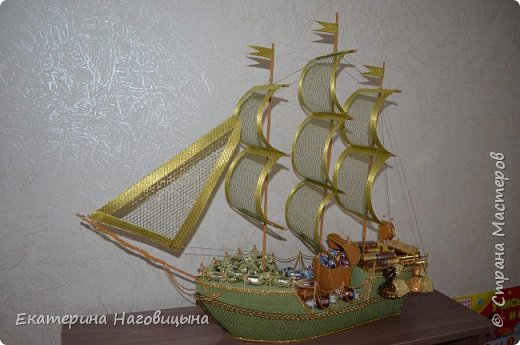 Представляю свою работу. Сладкий корабль с отсеком для игристого внутри. фото 12