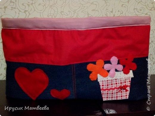 Моя корзина из джинсы и х/б ткани..декоративные сердечки и цветы из фетра. фото 1