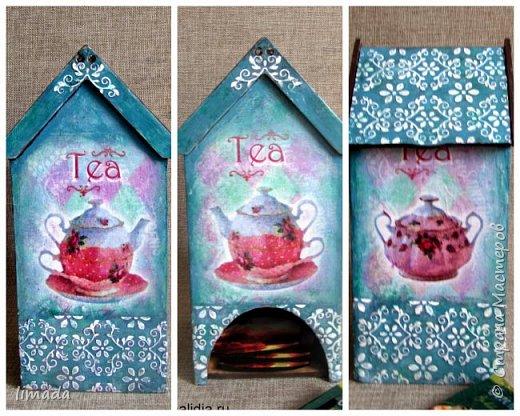 Декупаж чайного домика с рисовой картой, трафаретная роспись. фото 1