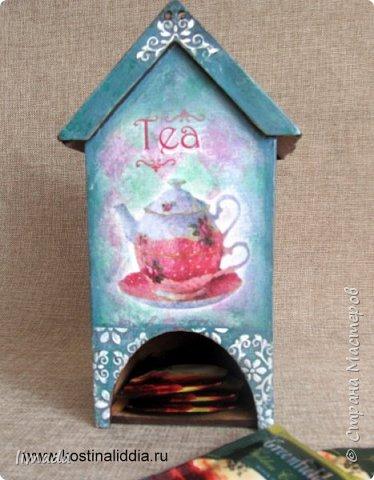Декупаж чайного домика с рисовой картой, трафаретная роспись. фото 2