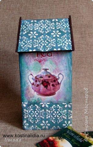 Декупаж чайного домика с рисовой картой, трафаретная роспись. фото 3