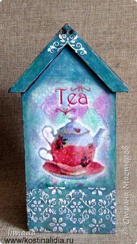 Декупаж чайного домика с рисовой картой, трафаретная роспись. фото 4
