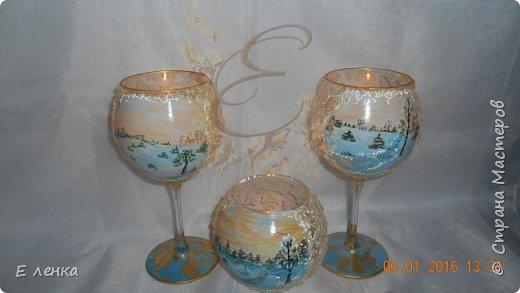 Стеклянные бокалы и вазочка из Икеи, роспись акрилом, на ножках поталь, хрустальная паста фирмы Сонет. фото 5