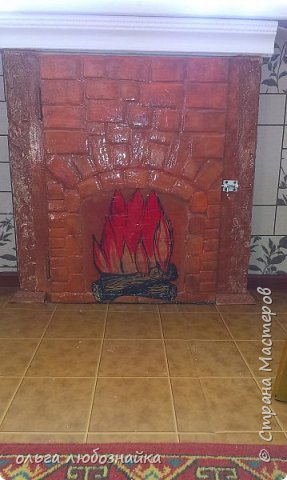 Всем здрямсте! Вот решила сделать каминчик себе в кухне под ркном, а точнее украсить дверь зимнего холодильника. фото 6