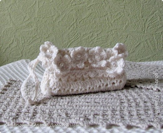 Текстильная сумочка в стиле шебби-шик.   Пряжа Ирис 100% хлопок. фото 6