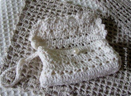 Текстильная сумочка в стиле шебби-шик.   Пряжа Ирис 100% хлопок. фото 8