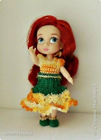 Продолжаю одевать своих кукол)))) Мерида от Дисней Аниматорс...туника связана по МК Ольги Тиунчик, штанишки - мои)))  фото 7