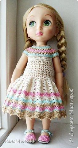 Продолжаю одевать своих кукол)))) Мерида от Дисней Аниматорс...туника связана по МК Ольги Тиунчик, штанишки - мои)))  фото 2