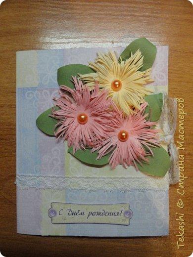 Вот такая вот открыточка. Для цветов использовала мастер класс http://stranamasterov.ru/node/419180?c=favorite