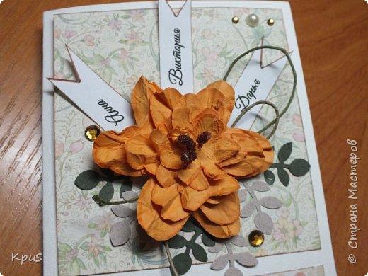 """В ходе подготовки к 8 марта, для родственниц мужа сделала открытки. Они сделаны без особых """"наворотов"""", но в них я использовала цветы и тычинки, которые сделала по мастер-классам мастериц. Спасибо им за помощь. фото 2"""