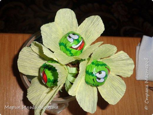 Вот такие ромашки получились из конфет - желеек фото 1