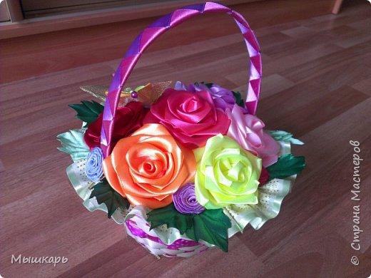 Здравствуйте!  Снова хочу показать свои цветочки из лент, но уже в корзинках фото 3