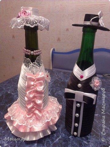 Добрый день! Хочу показать свои бутылочки, вернее их наряды. Торжественная свадебная пара фото 1