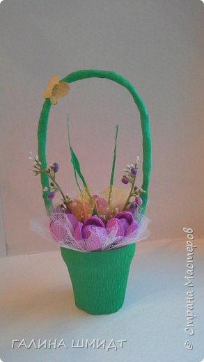 Заразилась и я свит-дизайном... эх как же это прекрасно и увлекательно. Это первая корзинка с первоцветами и бабочкой из салфетки фото 1