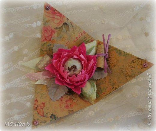 """дОБРЫЙ ДЕНЬ !Вот и прошел конкурс в свит-дизайне. Моя работа была в теме открытки,,Поздравление с днем рождения"""". Это простая треугольная открыточка, которая собирается и закрывается колпачком. Поздравление написано в свитке.Конфетка одна ,,Арфа"""" и 2 конфетки ,,Марсианка"""" фото 4"""
