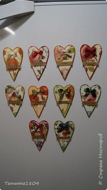 Магниты-валентинки на холодильник с признаниями 13х8 см. Пластик ПВХ, декупаж, магнитный винил.  фото 4