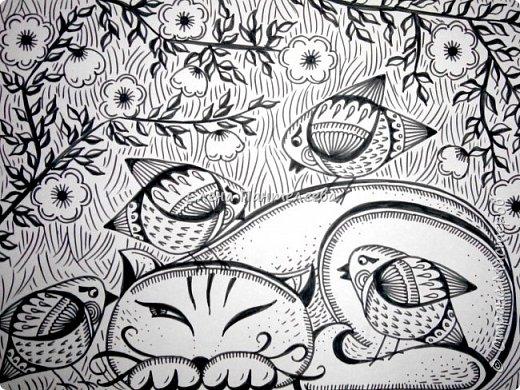 Рисуем кошку с птичками. фото 26