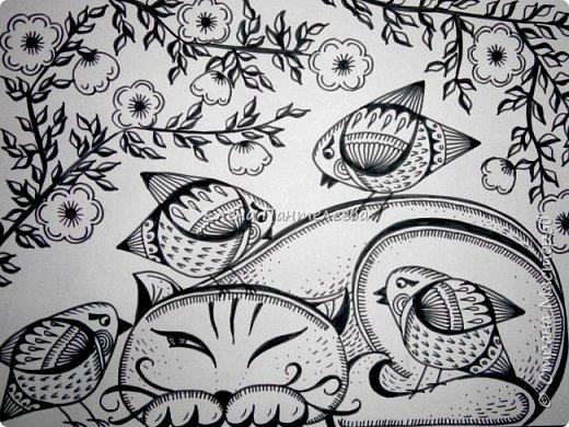 Рисуем кошку с птичками. фото 1
