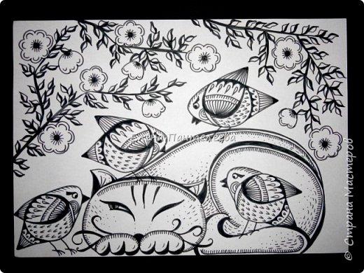 Рисуем кошку с птичками. фото 25