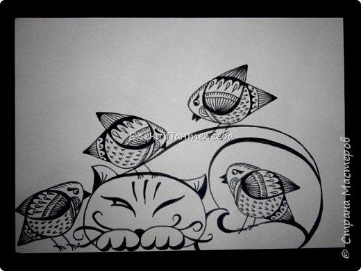 Рисуем кошку с птичками. фото 24