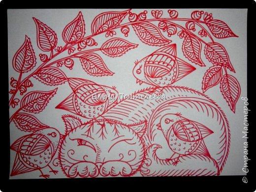 Рисуем кошку с птичками. фото 22