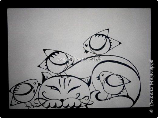 Рисуем кошку с птичками. фото 23