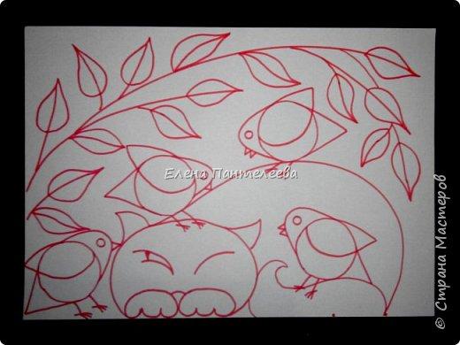 Рисуем кошку с птичками. фото 21
