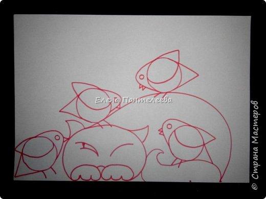 Рисуем кошку с птичками. фото 19