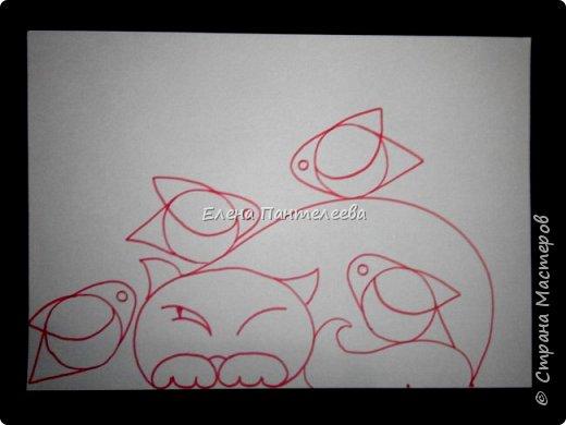 Рисуем кошку с птичками. фото 18
